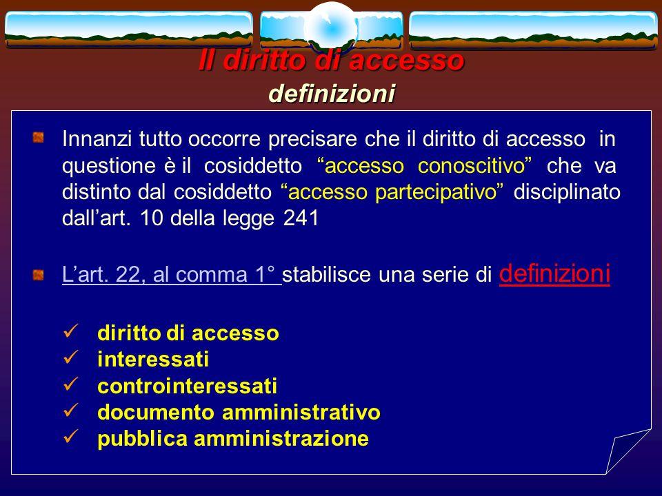 romano minardi51 Il diritto di accesso definizioni Innanzi tutto occorre precisare che il diritto di accesso in questione è il cosiddetto accesso cono