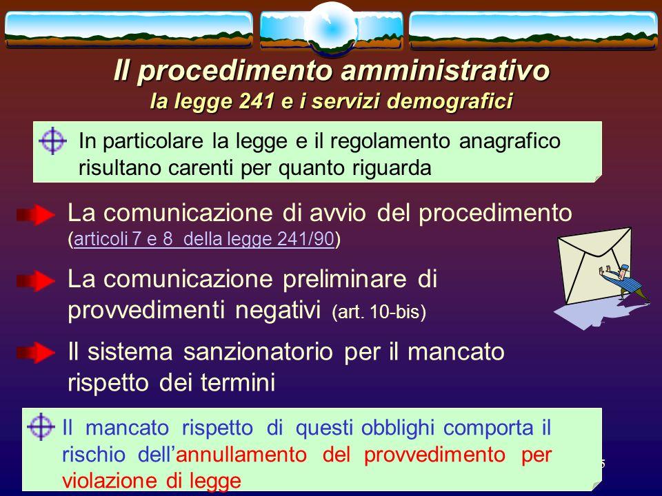 romano minardi65 Il procedimento amministrativo la legge 241 e i servizi demografici In particolare la legge e il regolamento anagrafico risultano car