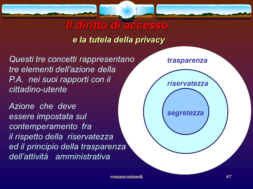 romano minardi67 Il diritto di accesso e la tutela della privacy segretezza trasparenza riservatezza Questi tre concetti rappresentano tre elementi de