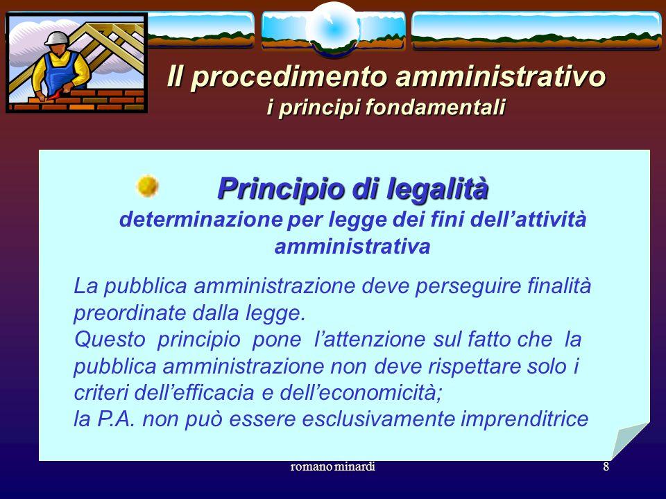 romano minardi8 Il procedimento amministrativo i principi fondamentali Principio di legalità determinazione per legge dei fini dellattività amministra