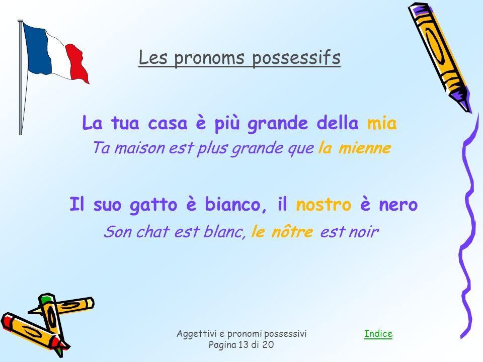 IndiceAggettivi e pronomi possessivi Pagina 13 di 20 Les pronoms possessifs La tua casa è più grande della mia Ta maison est plus grande que la mienne