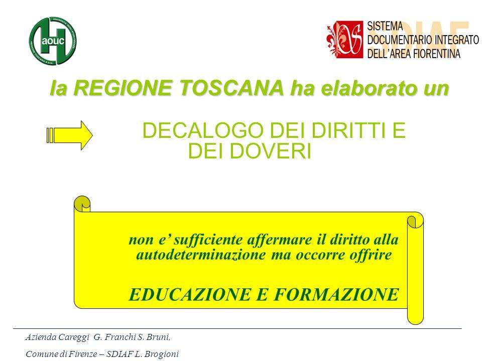 la REGIONE TOSCANA ha elaborato un Azienda Careggi G. Franchi S. Bruni, Comune di Firenze – SDIAF L. Brogioni non e sufficiente affermare il diritto a