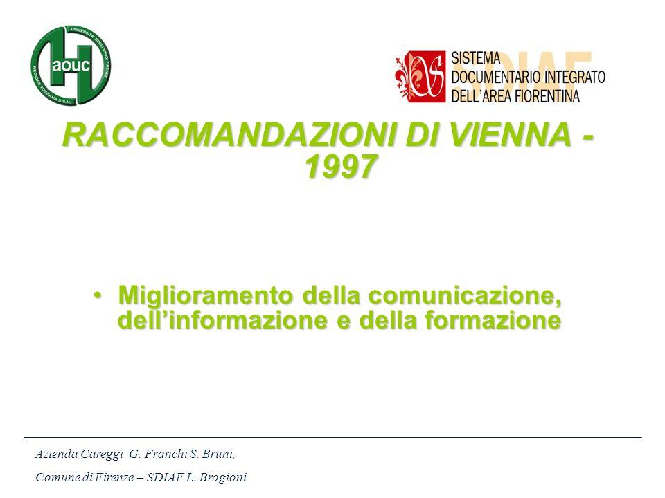 RACCOMANDAZIONI DI VIENNA - 1997 Miglioramento della comunicazione, dellinformazione e della formazioneMiglioramento della comunicazione, dellinformaz