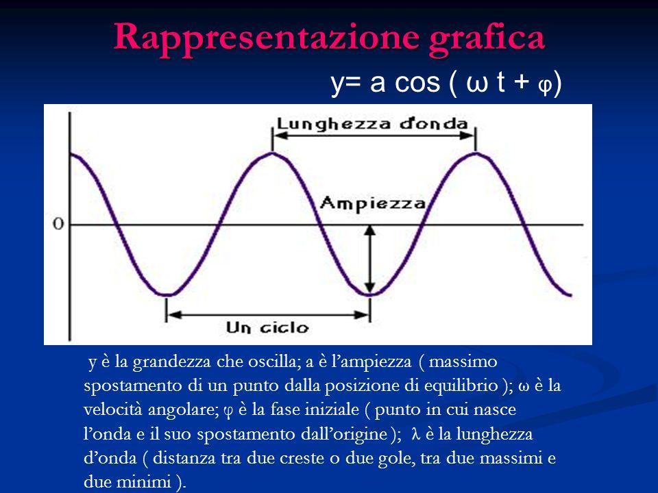 Rappresentazione grafica y è la grandezza che oscilla; a è lampiezza ( massimo spostamento di un punto dalla posizione di equilibrio ); ω è la velocit