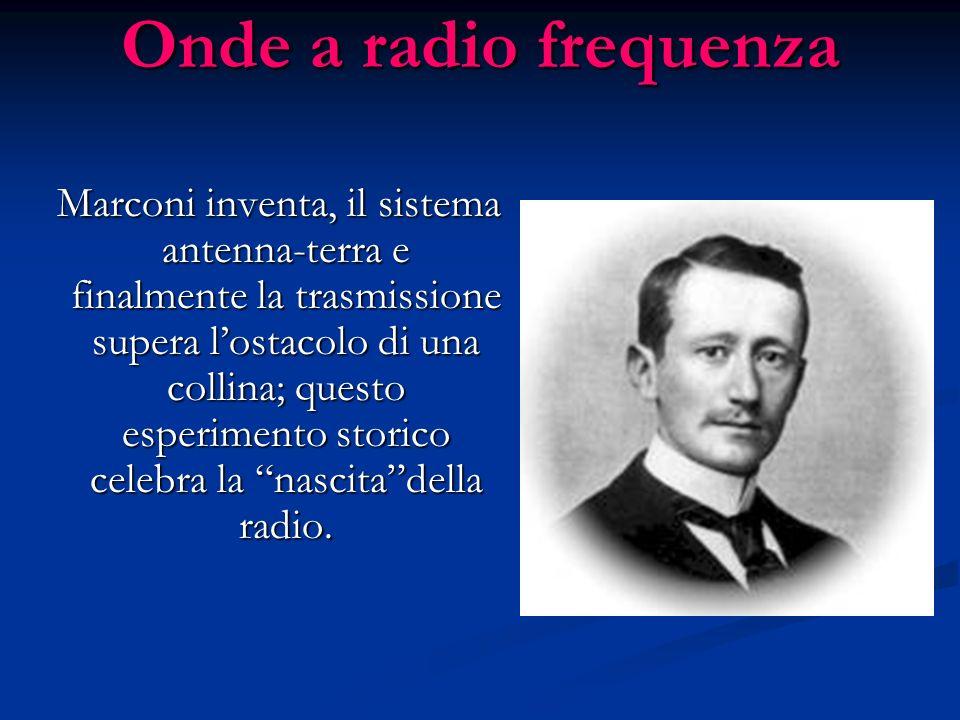 Onde a radio frequenza Marconi inventa, il sistema antenna-terra e finalmente la trasmissione supera lostacolo di una collina; questo esperimento stor