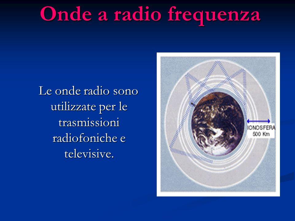 Onde a radio frequenza Le onde radio sono utilizzate per le trasmissioni radiofoniche e televisive. Le onde radio sono utilizzate per le trasmissioni