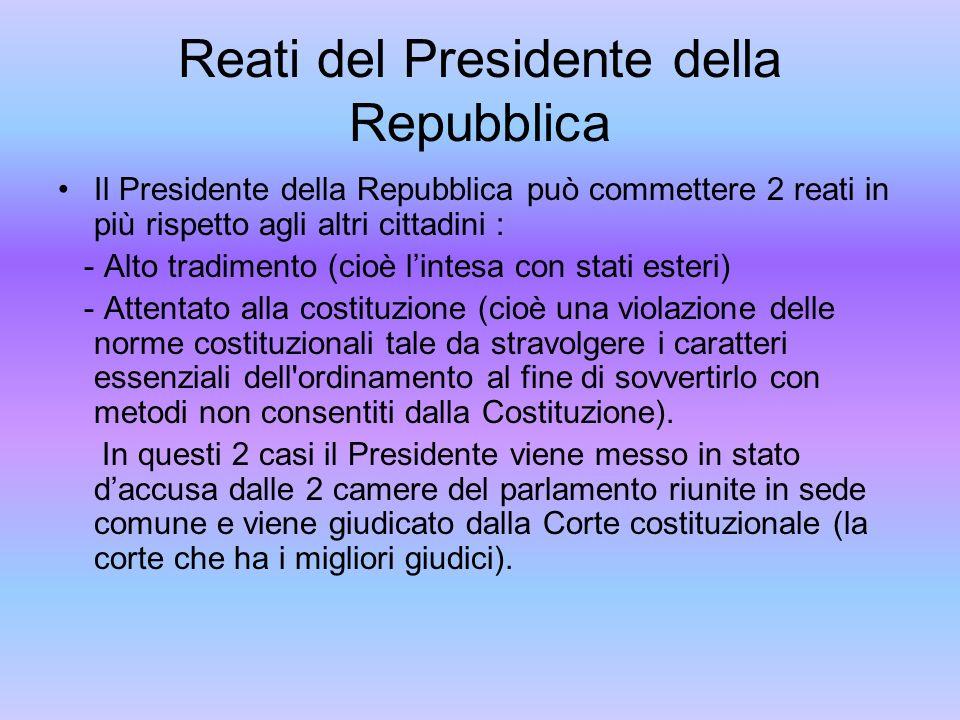 Reati del Presidente della Repubblica Il Presidente della Repubblica può commettere 2 reati in più rispetto agli altri cittadini : - Alto tradimento (