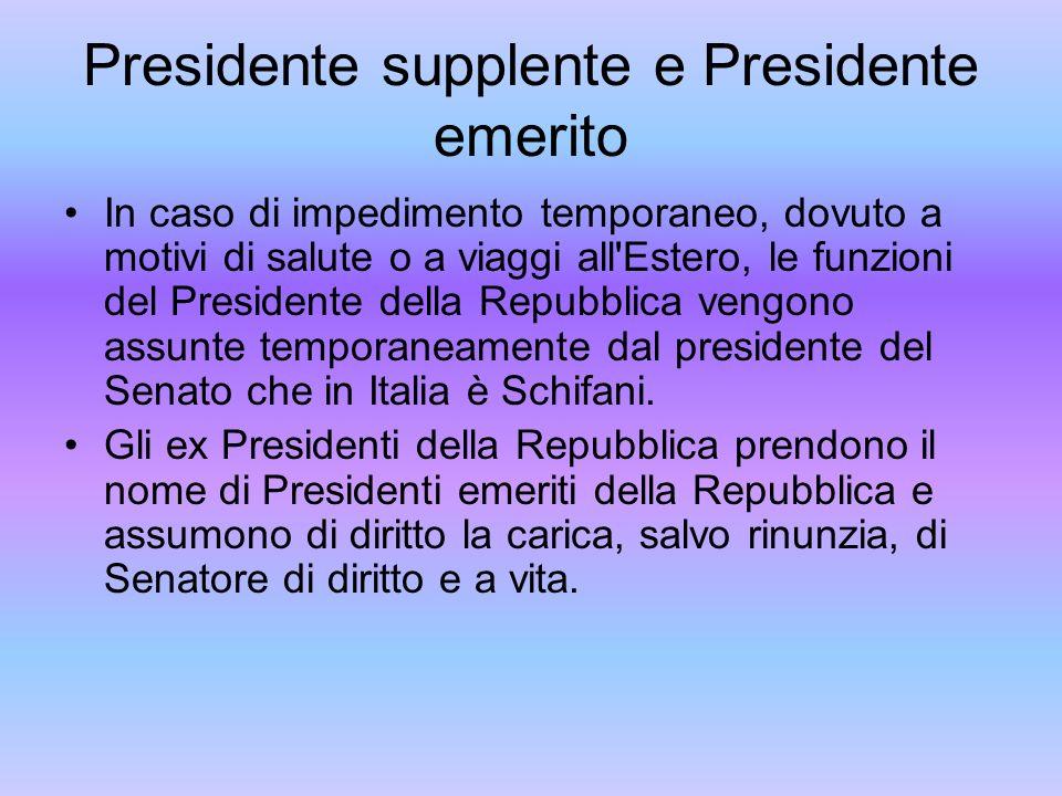 Presidente supplente e Presidente emerito In caso di impedimento temporaneo, dovuto a motivi di salute o a viaggi all'Estero, le funzioni del Presiden