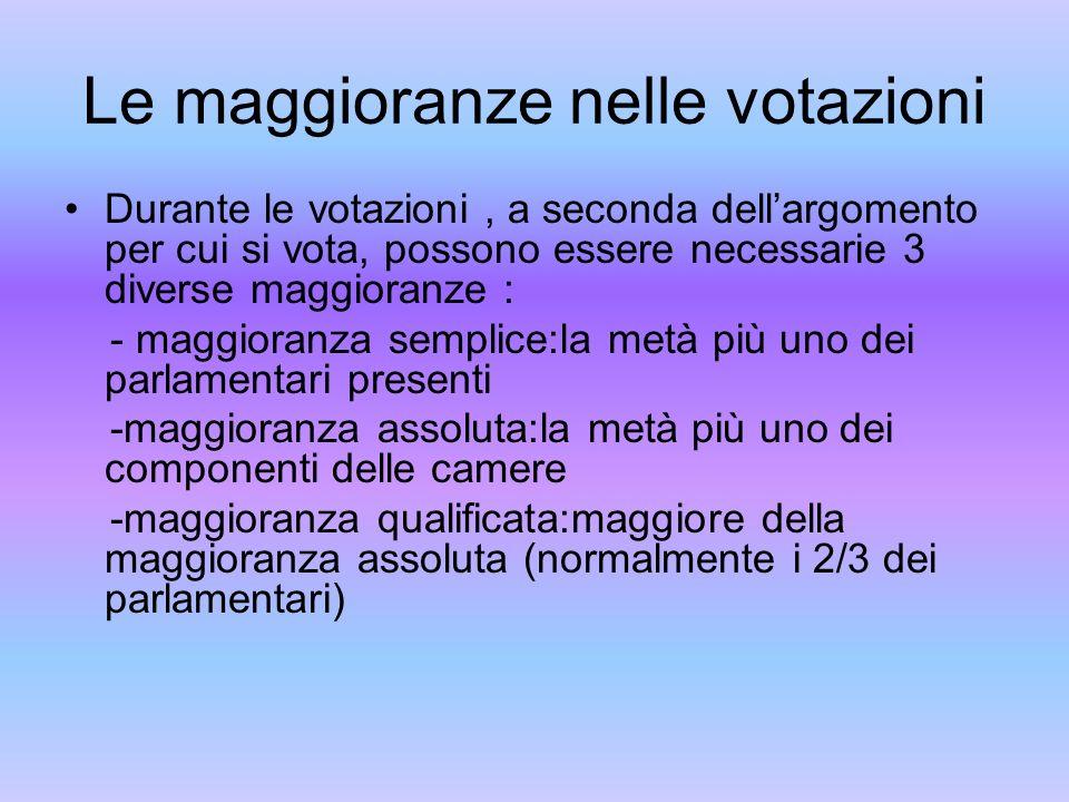 Le maggioranze nelle votazioni Durante le votazioni, a seconda dellargomento per cui si vota, possono essere necessarie 3 diverse maggioranze : - magg