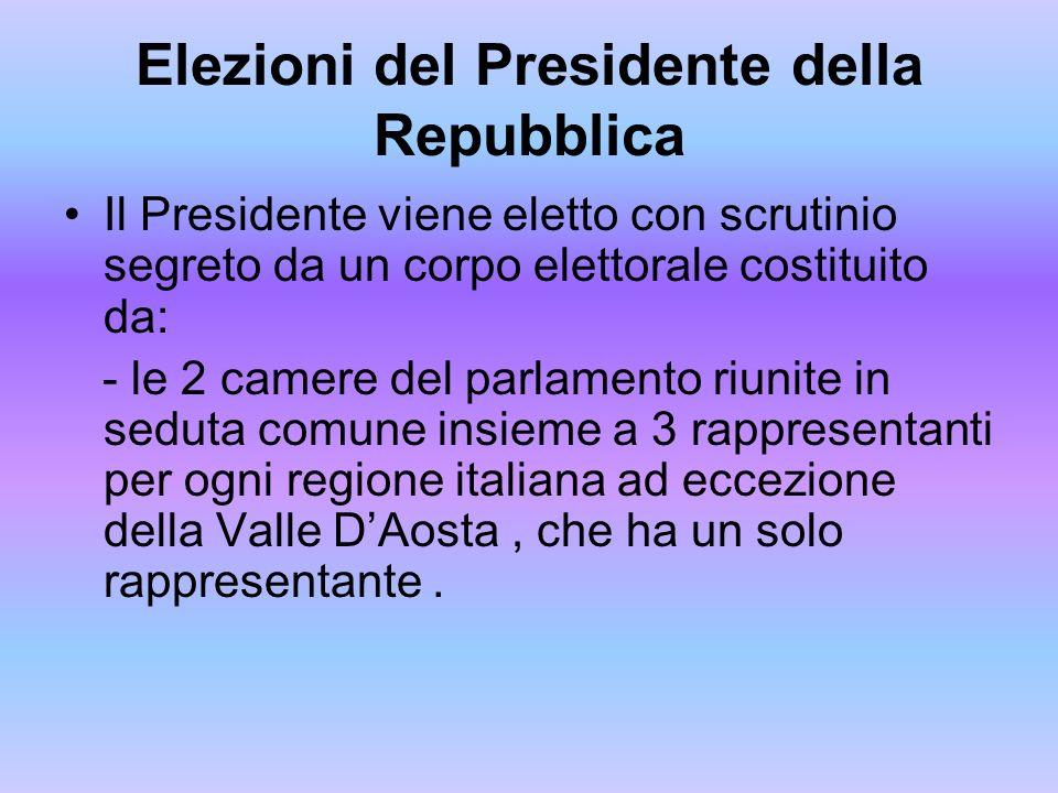 Elezioni del Presidente della Repubblica Il Presidente viene eletto con scrutinio segreto da un corpo elettorale costituito da: - le 2 camere del parl
