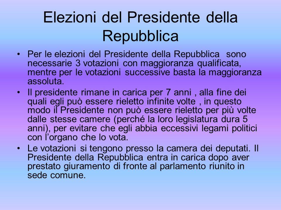 Elezioni del Presidente della Repubblica Per le elezioni del Presidente della Repubblica sono necessarie 3 votazioni con maggioranza qualificata, ment
