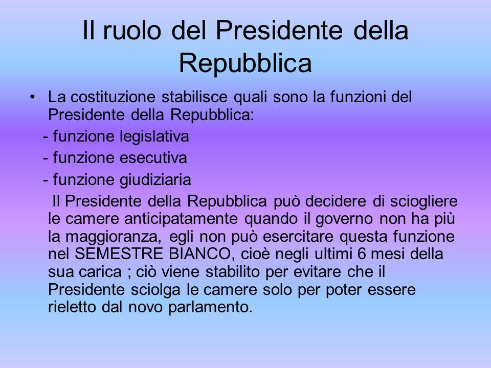 Il ruolo del Presidente della Repubblica La costituzione stabilisce quali sono la funzioni del Presidente della Repubblica: - funzione legislativa - f