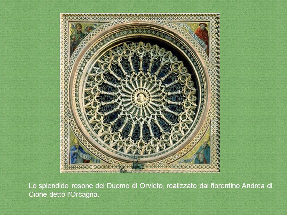 Lo splendido rosone del Duomo di Orvieto, realizzato dal fiorentino Andrea di Cione detto l'Orcagna.