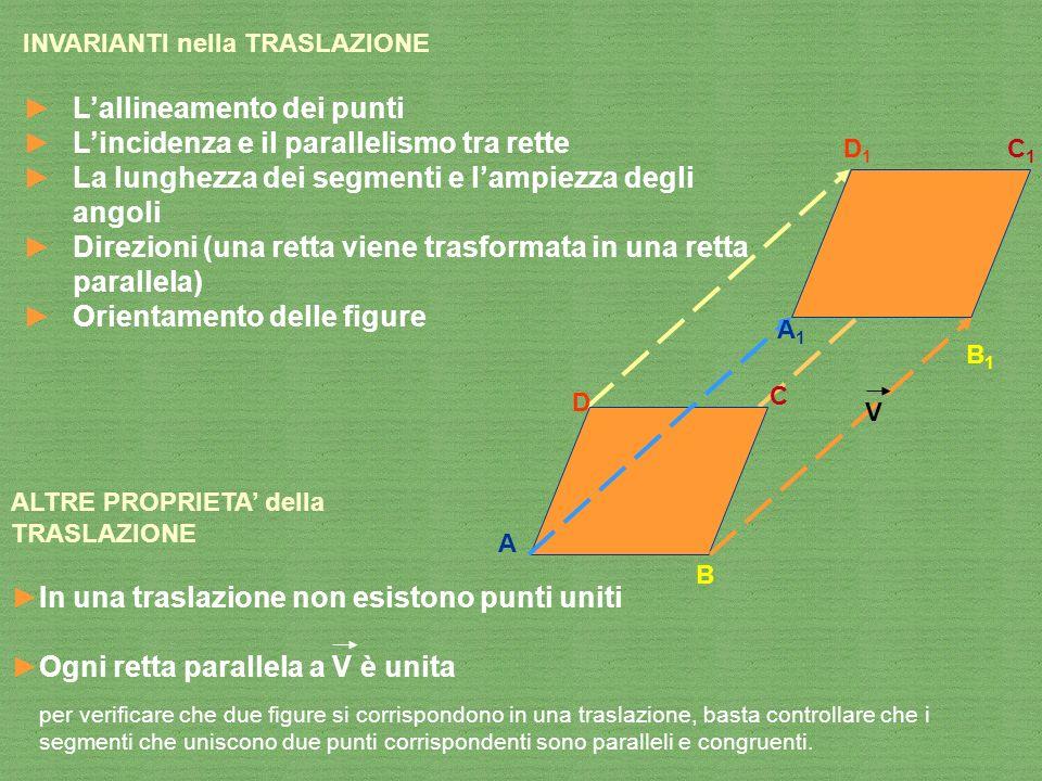 INVARIANTI nella TRASLAZIONE Lallineamento dei punti Lincidenza e il parallelismo tra rette La lunghezza dei segmenti e lampiezza degli angoli Direzio
