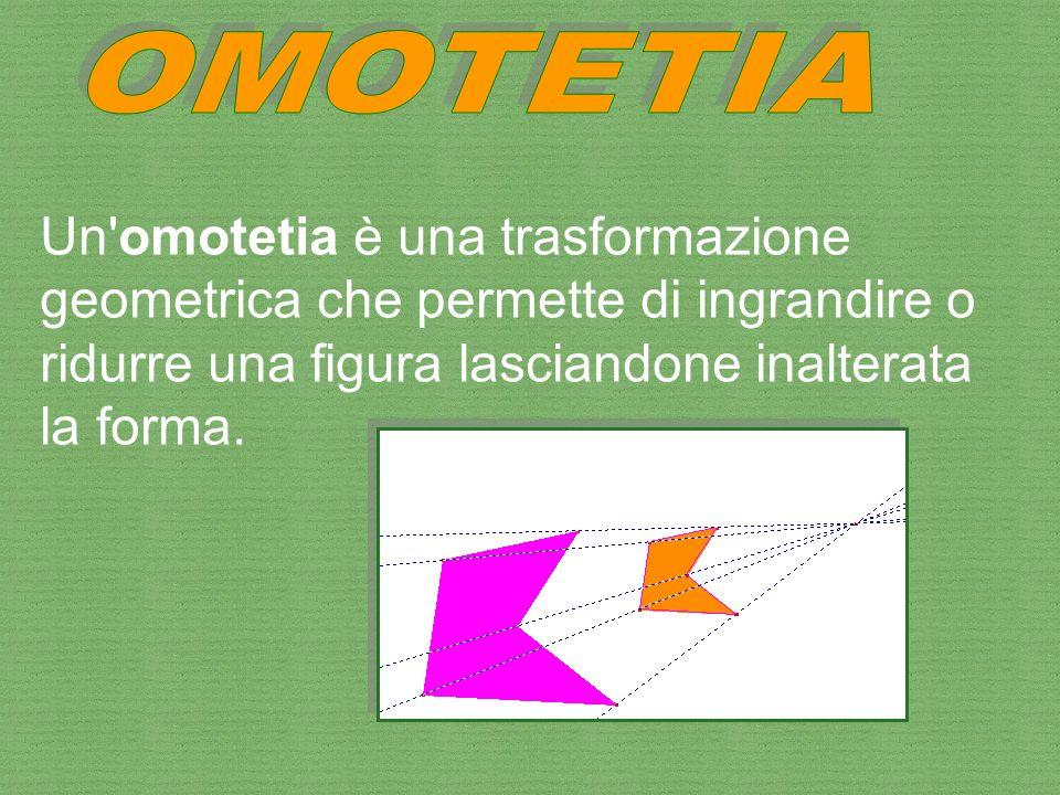 Un'omotetia è una trasformazione geometrica che permette di ingrandire o ridurre una figura lasciandone inalterata la forma.