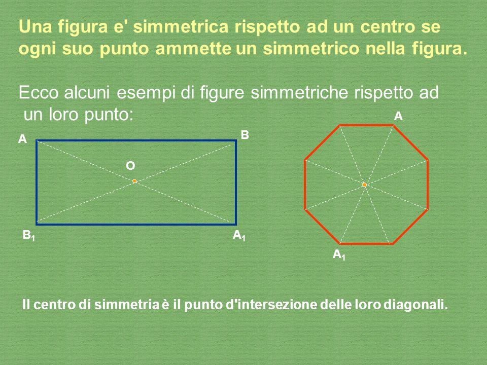 Una figura e' simmetrica rispetto ad un centro se ogni suo punto ammette un simmetrico nella figura. Ecco alcuni esempi di figure simmetriche rispetto
