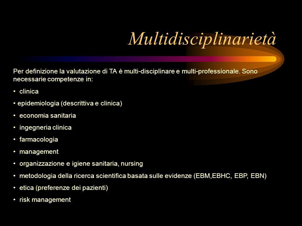 Multidisciplinarietà Per definizione la valutazione di TA è multi-disciplinare e multi-professionale. Sono necessarie competenze in: clinica epidemiol