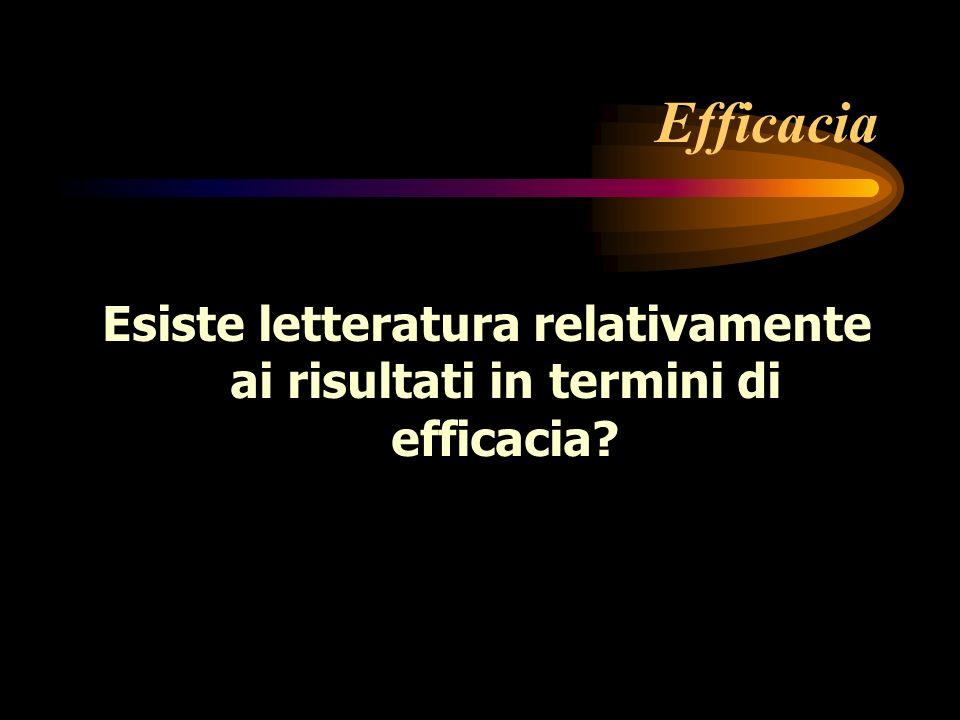 Efficacia Esiste letteratura relativamente ai risultati in termini di efficacia?