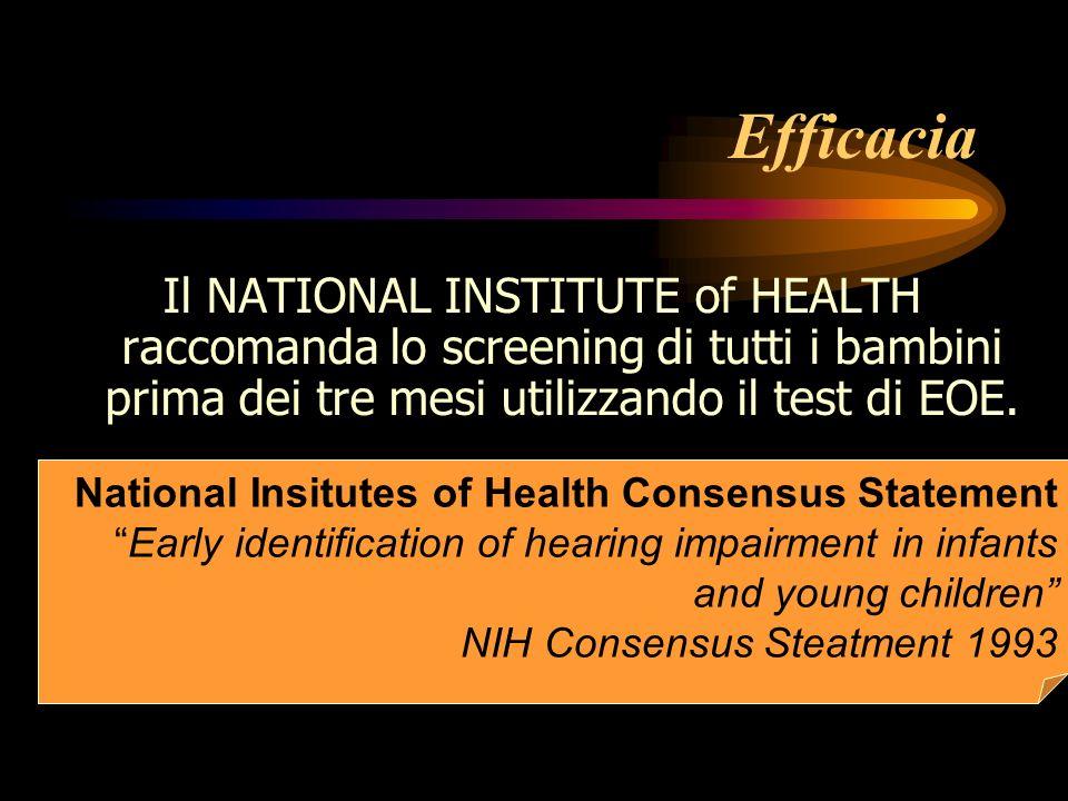 Efficacia Il NATIONAL INSTITUTE of HEALTH raccomanda lo screening di tutti i bambini prima dei tre mesi utilizzando il test di EOE. National Insitutes