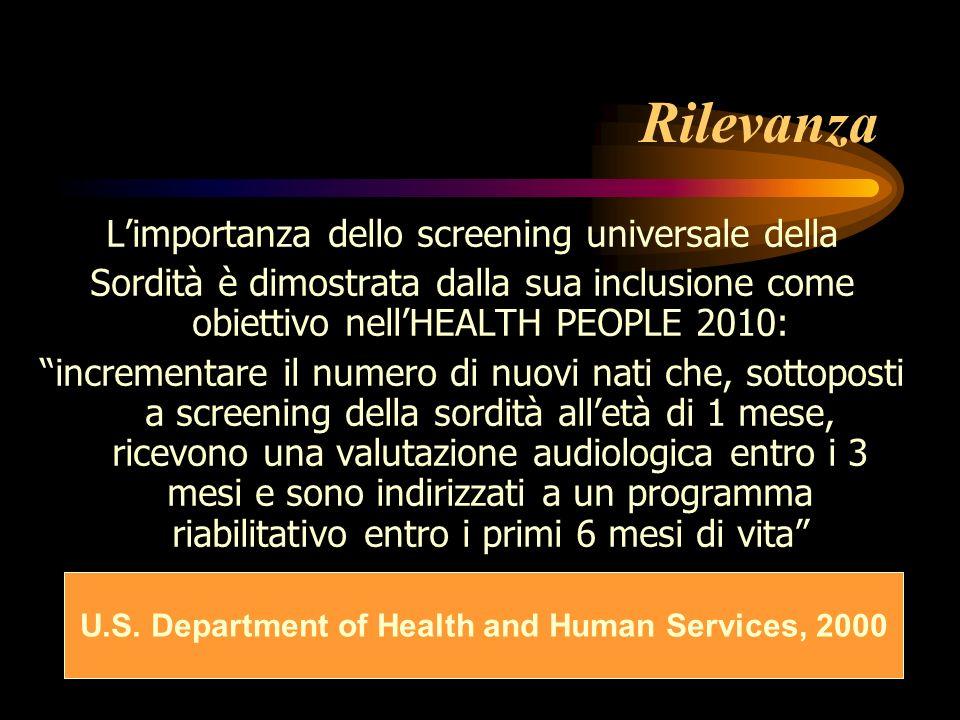 Rilevanza Limportanza dello screening universale della Sordità è dimostrata dalla sua inclusione come obiettivo nellHEALTH PEOPLE 2010: incrementare i