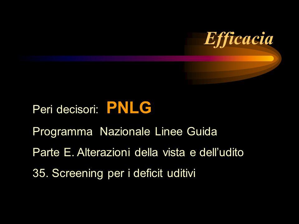 Efficacia Peri decisori: PNLG Programma Nazionale Linee Guida Parte E. Alterazioni della vista e delludito 35. Screening per i deficit uditivi