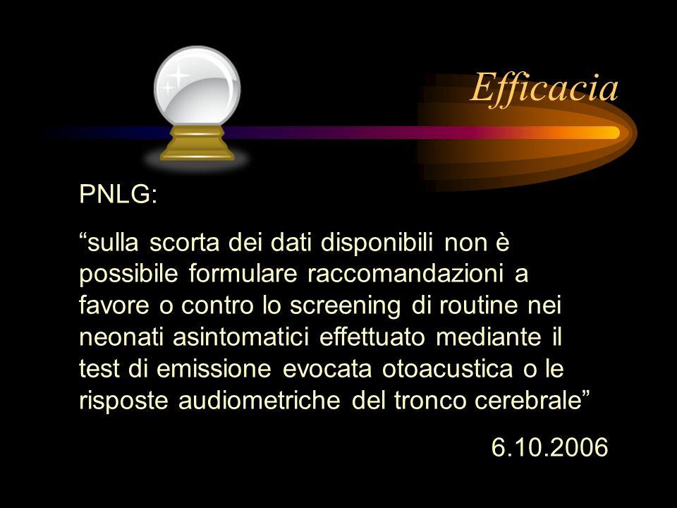 Efficacia PNLG: sulla scorta dei dati disponibili non è possibile formulare raccomandazioni a favore o contro lo screening di routine nei neonati asin