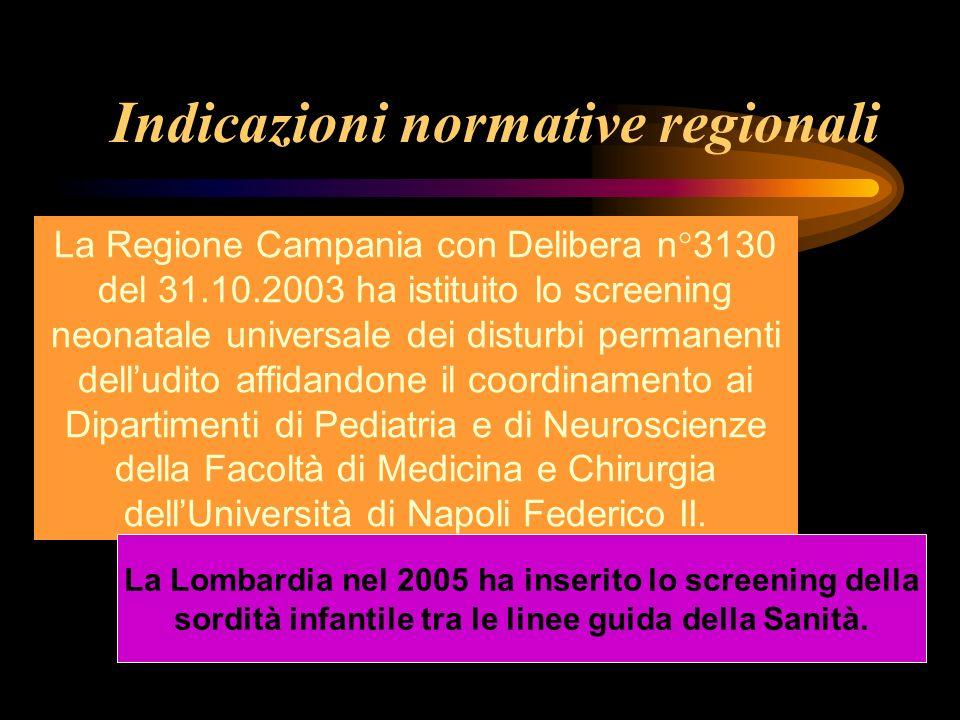Indicazioni normative regionali La Regione Campania con Delibera n°3130 del 31.10.2003 ha istituito lo screening neonatale universale dei disturbi per