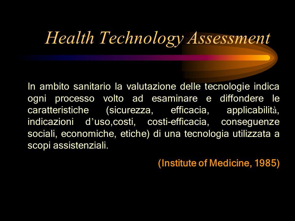 In ambito sanitario la valutazione delle tecnologie indica ogni processo volto ad esaminare e diffondere le caratteristiche (sicurezza, efficacia, app