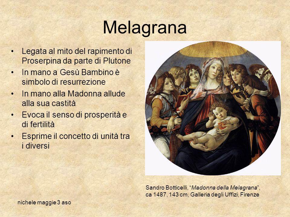 nichele maggie 3 aso Melagrana Legata al mito del rapimento di Proserpina da parte di Plutone In mano a Gesù Bambino è simbolo di resurrezione In mano