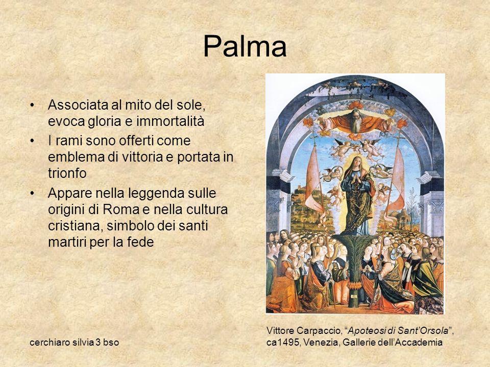 cerchiaro silvia 3 bso Palma Associata al mito del sole, evoca gloria e immortalità I rami sono offerti come emblema di vittoria e portata in trionfo