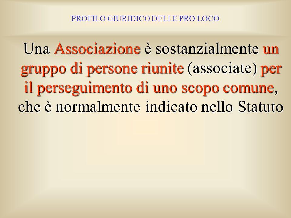 PROFILO GIURIDICO DELLE PRO LOCO La forma associativa che interessa le Pro Loco è quella delle Associazioni, prevista dal Titolo II del Codice Civile