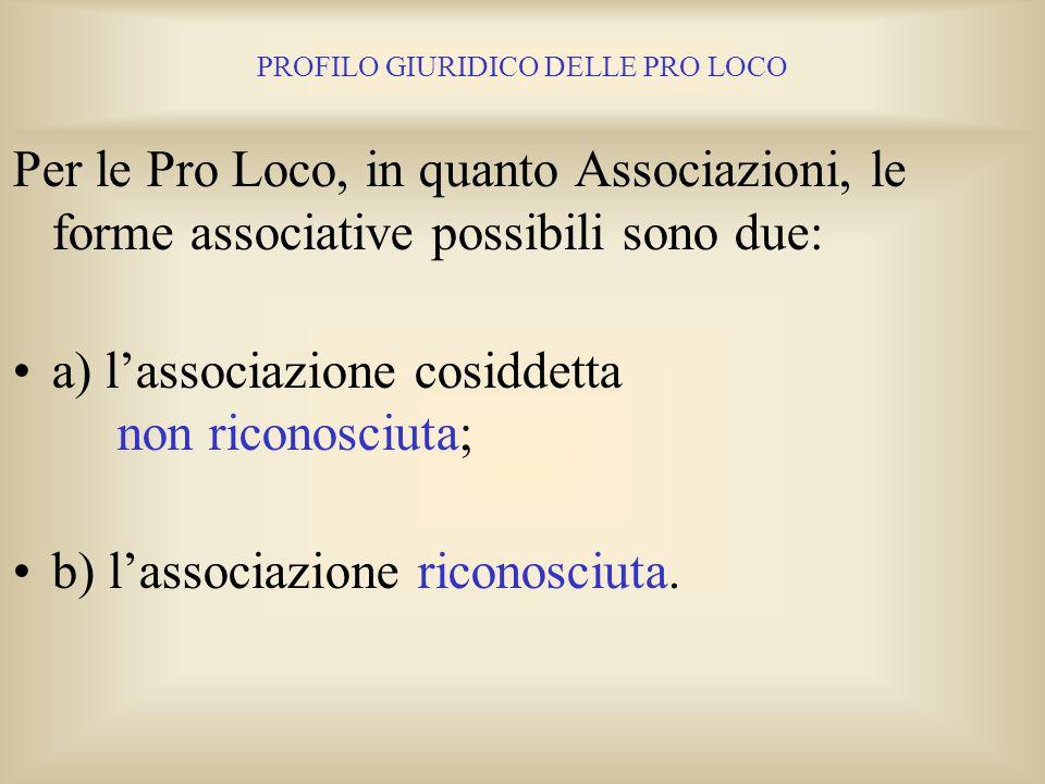 PROFILO GIURIDICO DELLE PRO LOCO 6. LE FORME ASSOCIATIVE PER LE PRO LOCO In linea di massima, tranne rare eccezioni, sotto il profilo giuridico le Pro