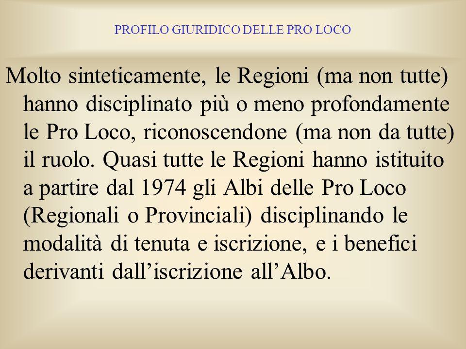 PROFILO GIURIDICO DELLE PRO LOCO 10. LA LEGISLAZIONE REGIONALE Le Pro Loco hanno come primo riferimento la propria Legge Regionale. La situazione dell