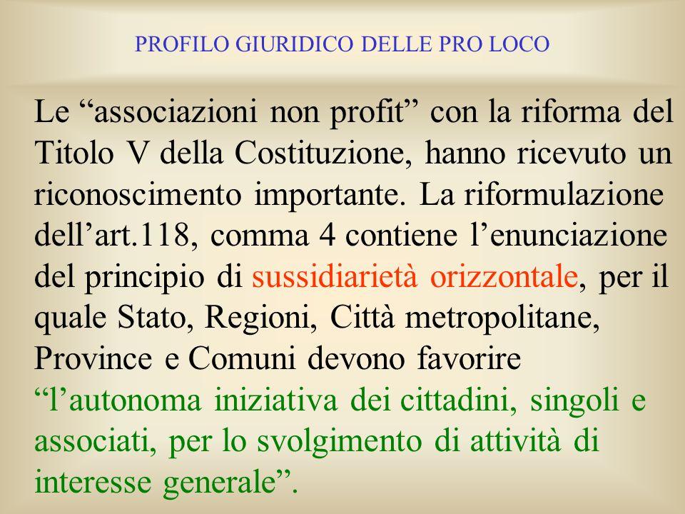 PROFILO GIURIDICO DELLE PRO LOCO 1. IL NON PROFIT NELLA COSTITUZIONE ITALIANA La libertà di associazione è tutelata dallarticolo 18 della Costituzione