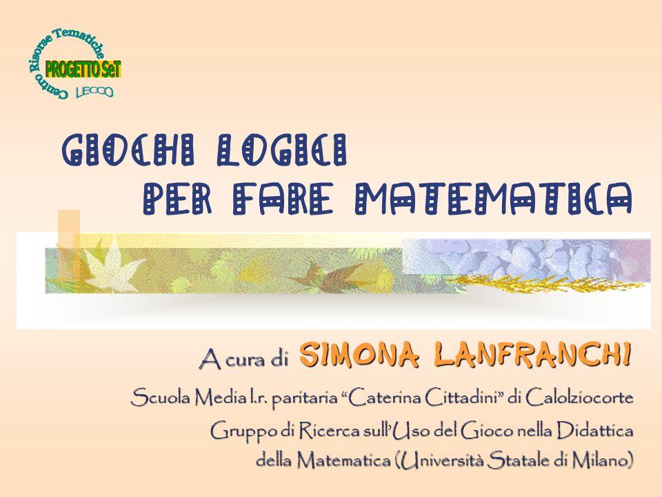 GIOCHI LOGICI per fare MATEMATICA A cura di Simona Lanfranchi Scuola Media l.r. paritaria Caterina Cittadini di Calolziocorte Gruppo di Ricerca sullUs