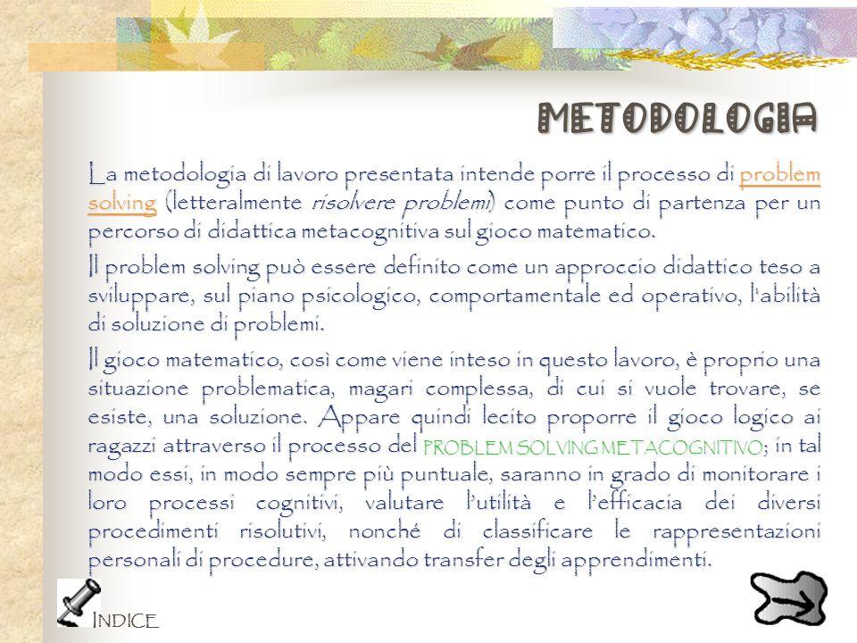 metodologia La metodologia di lavoro presentata intende porre il processo di problem solving (letteralmente risolvere problemi) come punto di partenza