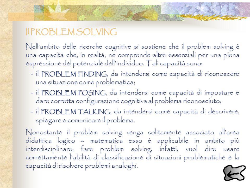 Il PROBLEM SOLVING Nellambito delle ricerche cognitive si sostiene che il problem solving è una capacità che, in realtà, ne comprende altre essenziali
