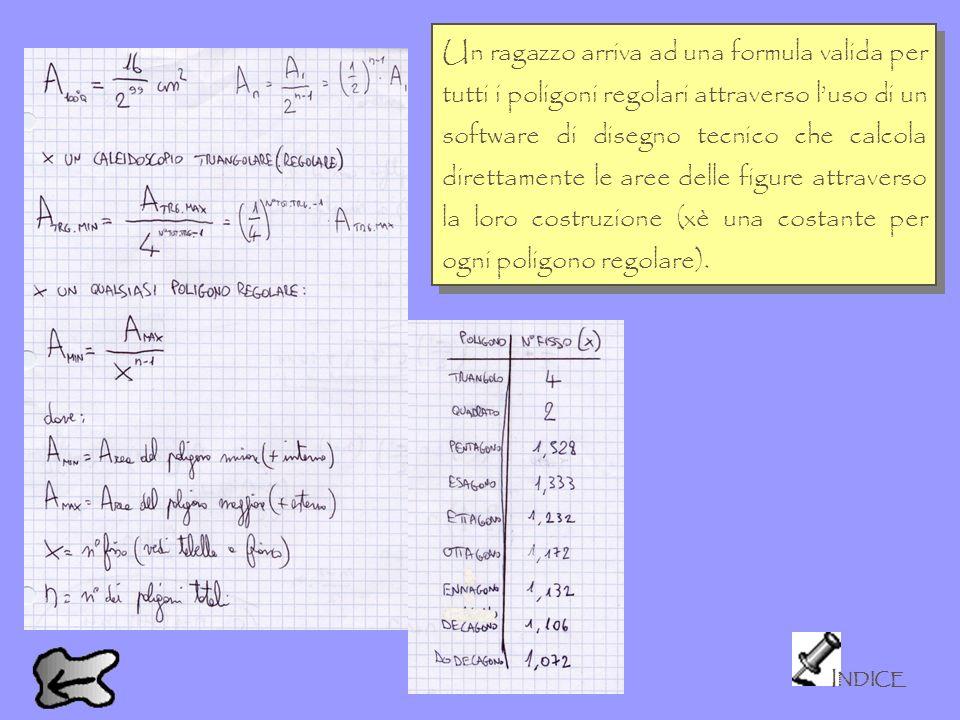 I NDICE Un ragazzo arriva ad una formula valida per tutti i poligoni regolari attraverso luso di un software di disegno tecnico che calcola direttamen
