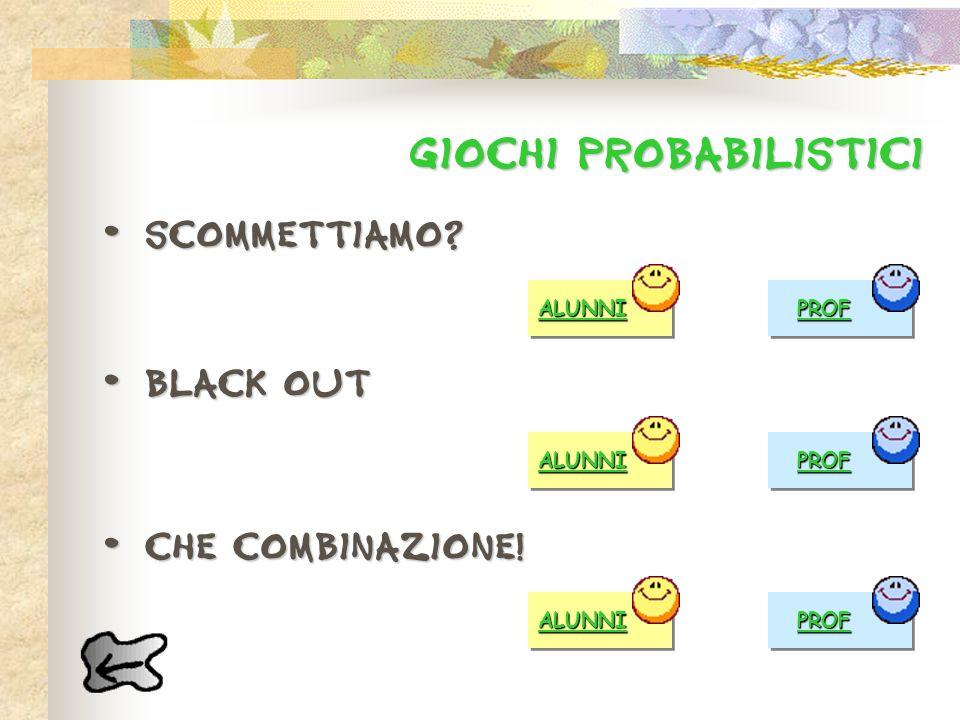GIOCHI probabilistICI Scommettiamo? Scommettiamo? Black out Black out Che combinazione! Che combinazione! ALUNNI PROF ALUNNI PROF ALUNNI PROF