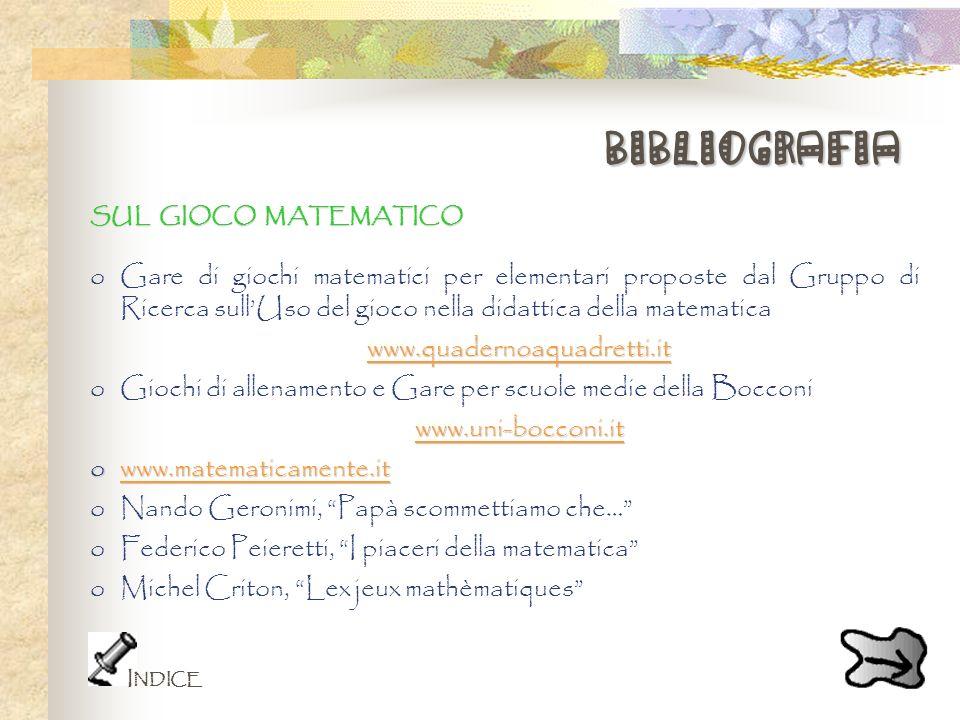 bibliografia SUL GIOCO MATEMATICO oGare di giochi matematici per elementari proposte dal Gruppo di Ricerca sullUso del gioco nella didattica della mat