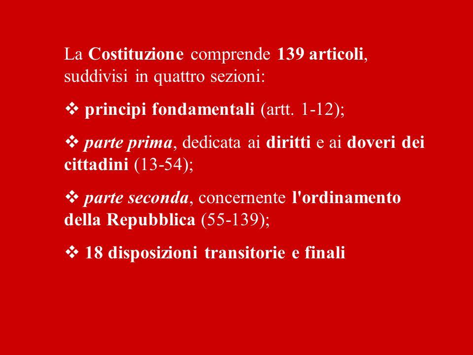 La Costituzione comprende 139 articoli, suddivisi in quattro sezioni: principi fondamentali (artt. 1-12); parte prima, dedicata ai diritti e ai doveri