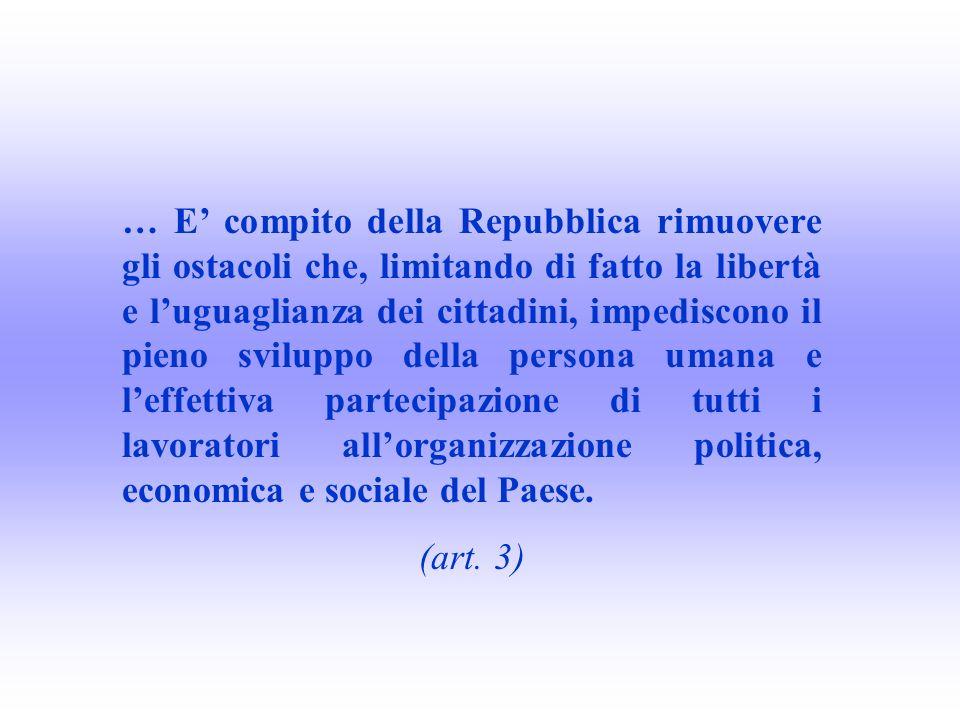 … E compito della Repubblica rimuovere gli ostacoli che, limitando di fatto la libertà e luguaglianza dei cittadini, impediscono il pieno sviluppo del