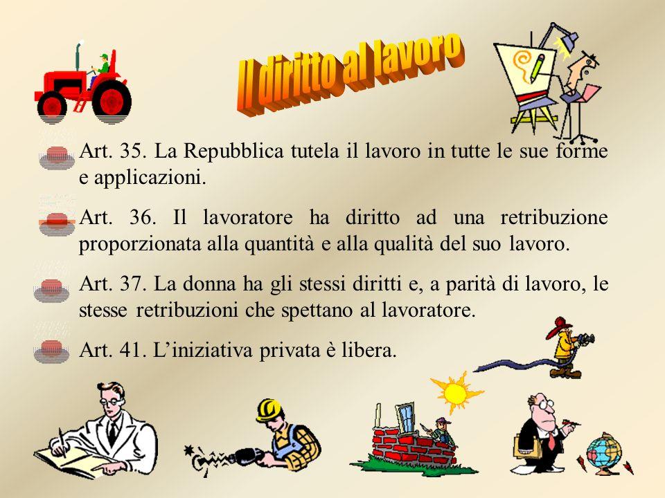 Art. 35. La Repubblica tutela il lavoro in tutte le sue forme e applicazioni. Art. 36. Il lavoratore ha diritto ad una retribuzione proporzionata alla
