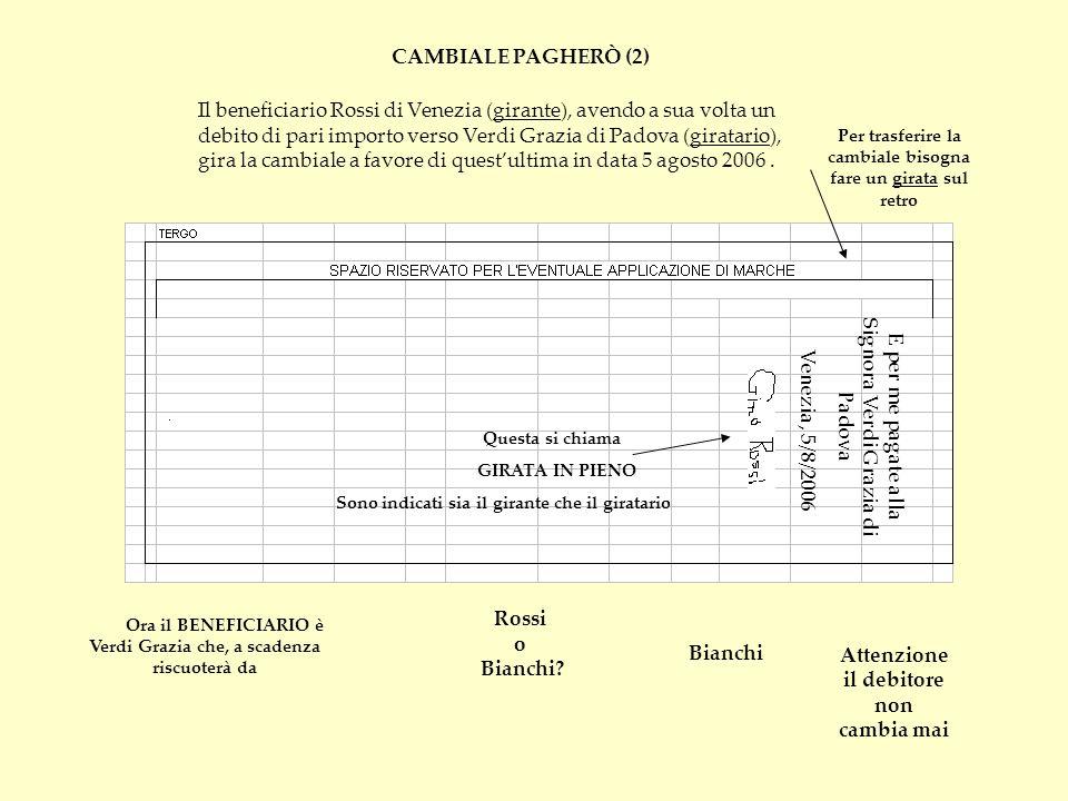 CAMBIALE PAGHERÒ (2) Il beneficiario Rossi di Venezia (girante), avendo a sua volta un debito di pari importo verso Verdi Grazia di Padova (giratario)