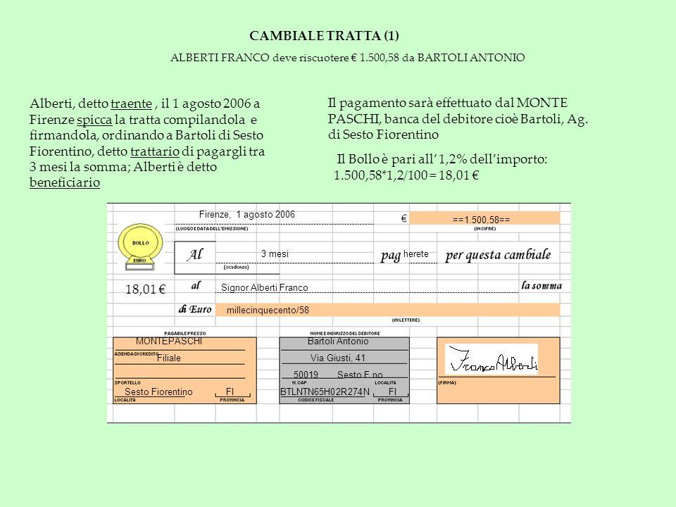 CAMBIALE TRATTA (1) ALBERTI FRANCO deve riscuotere 1.500,58 da BARTOLI ANTONIO Alberti, detto traente, il 1 agosto 2006 a Firenze spicca la tratta com