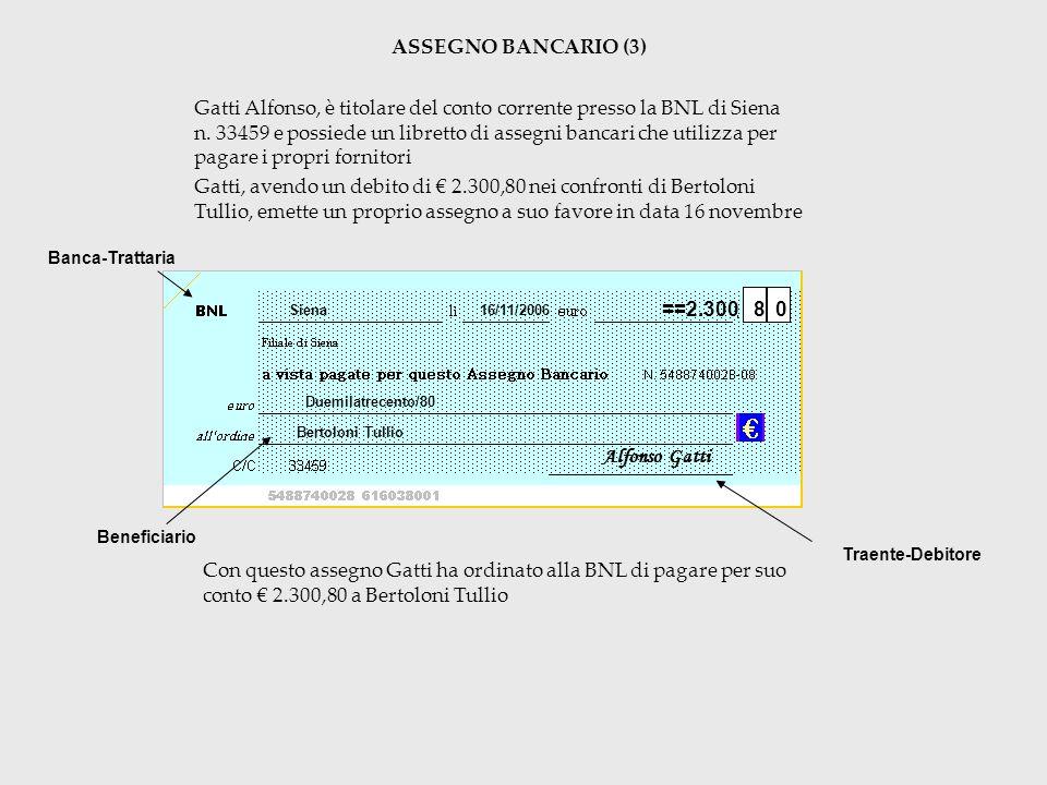 ASSEGNO BANCARIO (3) Gatti Alfonso, è titolare del conto corrente presso la BNL di Siena n. 33459 e possiede un libretto di assegni bancari che utiliz
