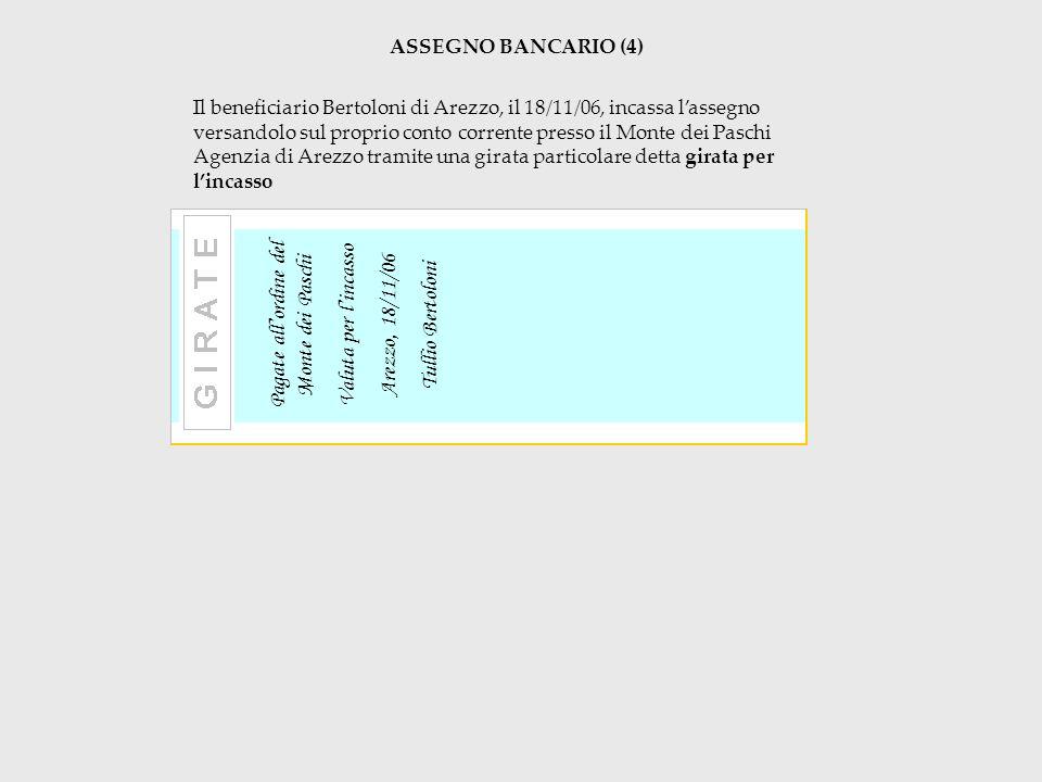 ASSEGNO BANCARIO (4) Il beneficiario Bertoloni di Arezzo, il 18/11/06, incassa lassegno versandolo sul proprio conto corrente presso il Monte dei Pasc