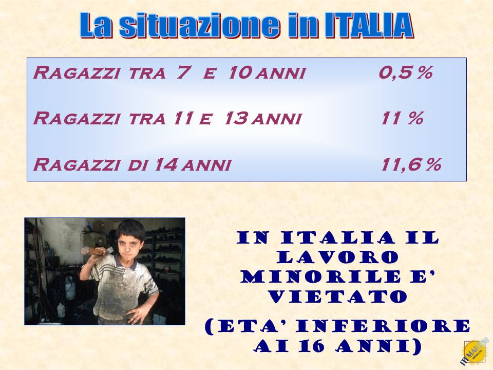 Ragazzi tra 7 e 10 anni 0,5 % Ragazzi tra 11 e 13 anni 11 % Ragazzi di 14 anni 11,6 % IN ITALIA IL LAVORO MINORILE E VIETATO (ETA INFERIORE AI 16 ANNI