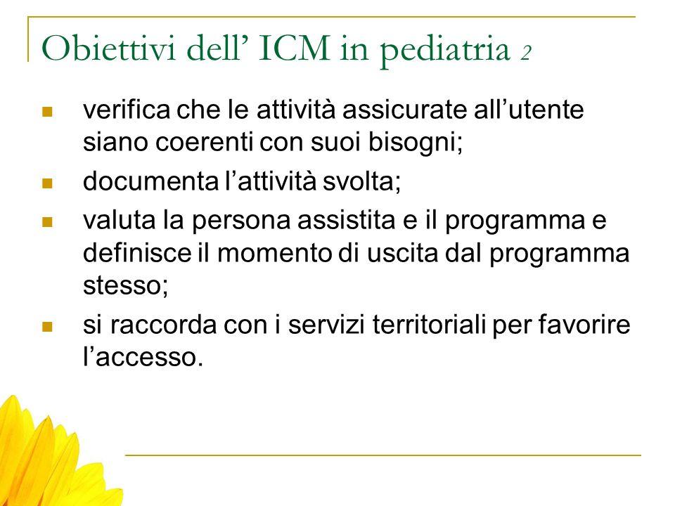 Obiettivi dell ICM in pediatria 2 verifica che le attività assicurate allutente siano coerenti con suoi bisogni; documenta lattività svolta; valuta la