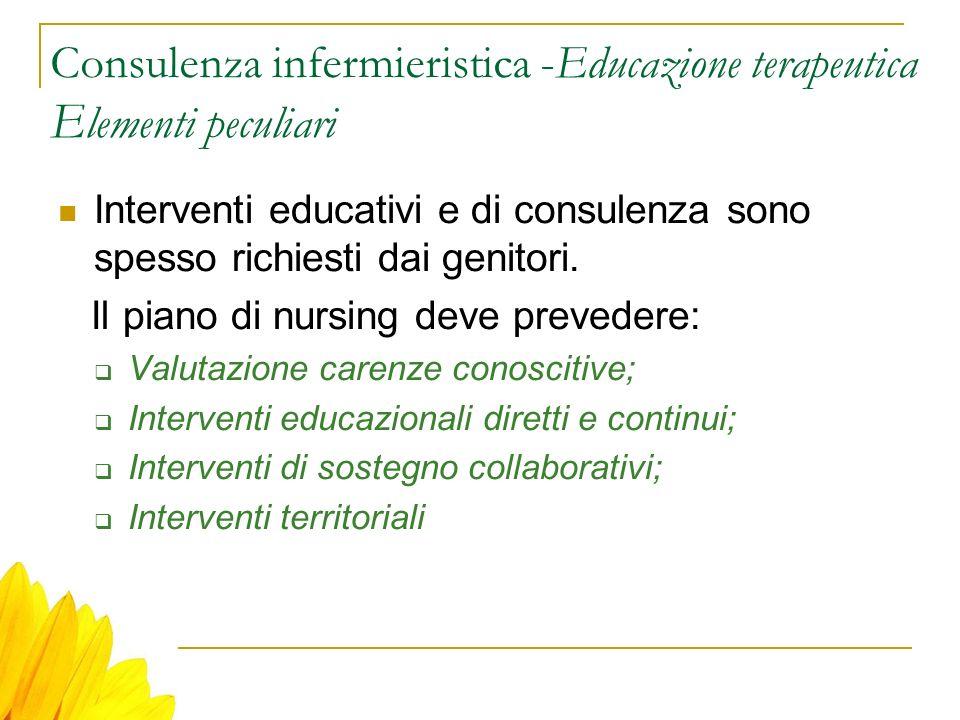 Consulenza infermieristica -Educazione terapeutica E lementi peculiari Interventi educativi e di consulenza sono spesso richiesti dai genitori. Il pia